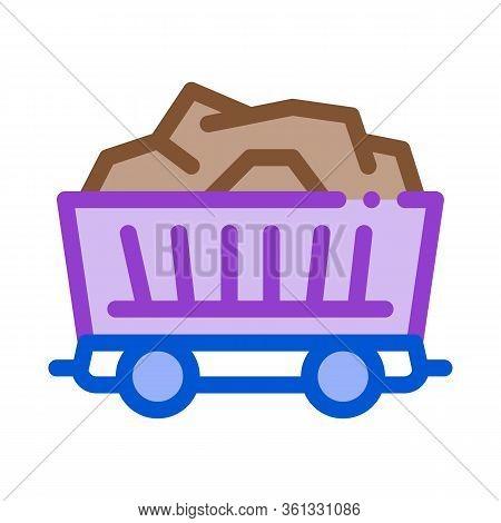 Coal Cart Icon Vector. Coal Cart Sign. Color Symbol Illustration