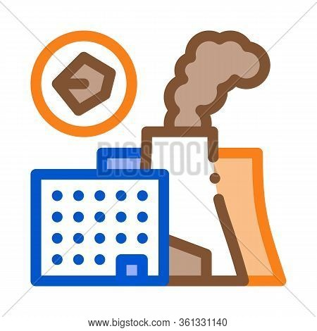 Coal Production Plant Icon Vector. Coal Production Plant Sign. Color Symbol Illustration