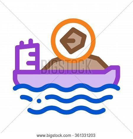 Mobile Boat With Coal Icon Vector. Mobile Boat With Coal Sign. Color Symbol Illustration