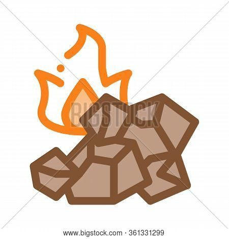 Charcoal For Fire Icon Vector. Charcoal For Fire Sign. Color Symbol Illustration