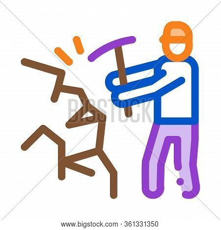 Miner With Pickaxe Icon Vector. Miner With Pickaxe Sign. Color Symbol Illustration