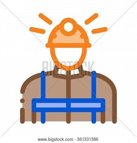 Miner Worker Icon Vector. Miner Worker Sign. Color Symbol Illustration