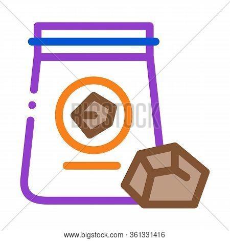Coal In Bag Icon Vector. Coal In Bag Sign. Color Symbol Illustration