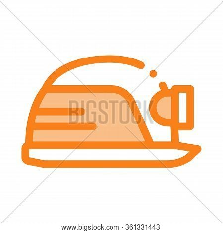 Safety Helmet With Flashlight Icon Vector. Safety Helmet With Flashlight Sign. Color Symbol Illustra