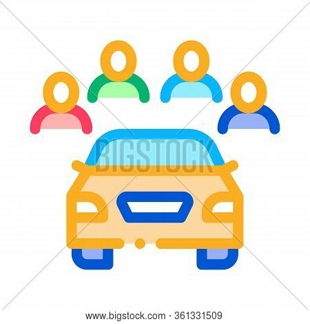 Inspection Of Machine By Group Of People Icon Vector. Inspection Of Machine By Group Of People Sign.