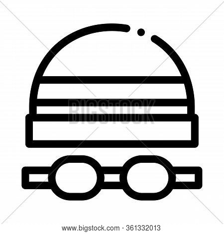Safety Goggles And Hat Icon Vector. Safety Goggles And Hat Sign. Isolated Contour Symbol Illustratio