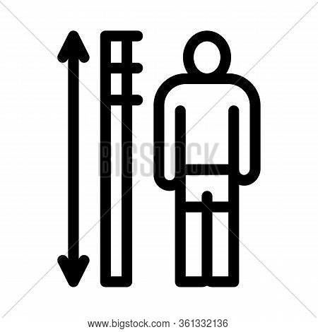 Human Height Measurement Icon Vector. Human Height Measurement Sign. Isolated Contour Symbol Illustr