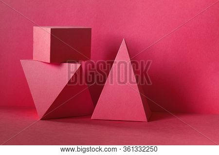 Red Abstract Geometrical Figures Background. Beautiful Three-dimensional Pyramid Rectangular Cube Ob
