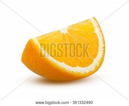Orange Slice On White Background. Sliced Orange Isolated. Full Depth Of Field, Absolute Sharpness. O