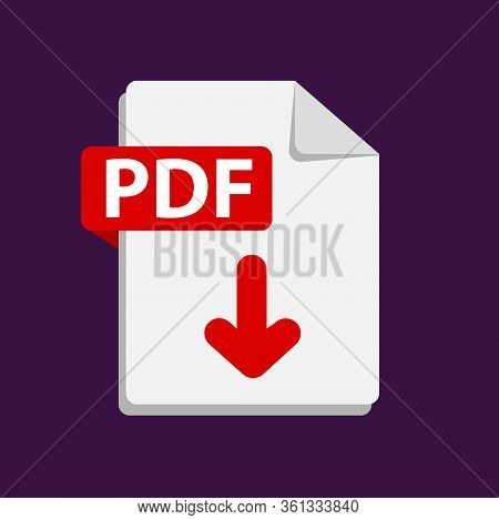 Vector Red Icon Pdf. File Format Extensions Icon.