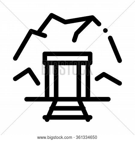 Mine Entrance Icon Vector. Mine Entrance Sign. Isolated Contour Symbol Illustration