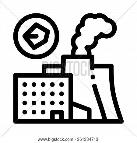 Coal Production Plant Icon Vector. Coal Production Plant Sign. Isolated Contour Symbol Illustration