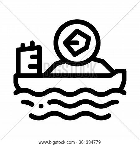 Mobile Boat With Coal Icon Vector. Mobile Boat With Coal Sign. Isolated Contour Symbol Illustration