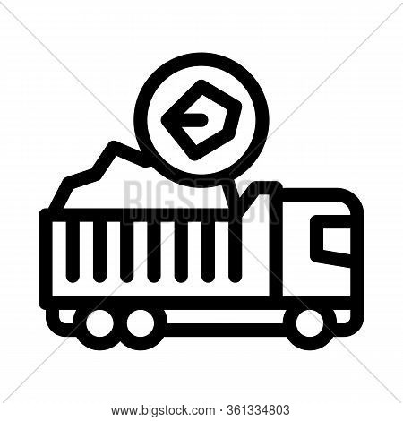 Coal Truck Icon Vector. Coal Truck Sign. Isolated Contour Symbol Illustration
