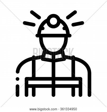 Miner Worker Icon Vector. Miner Worker Sign. Isolated Contour Symbol Illustration