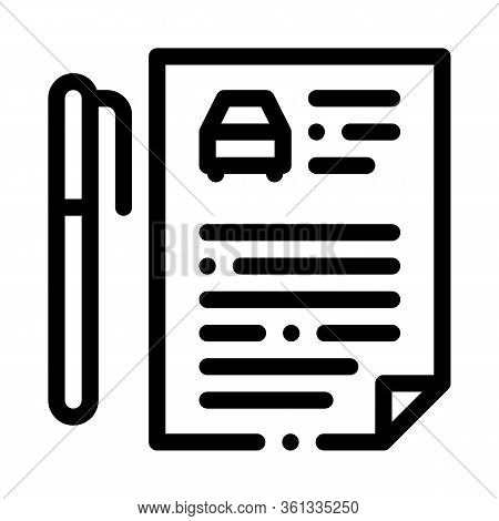 Car Purchase Agreement Icon Vector. Car Purchase Agreement Sign. Isolated Contour Symbol Illustratio