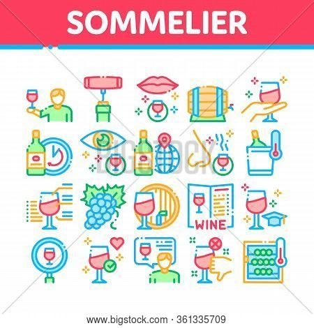 Sommelier Wine Tasting Collection Icons Set Vector. Sommelier Hold Glass With Alcoholic Drink, Barre