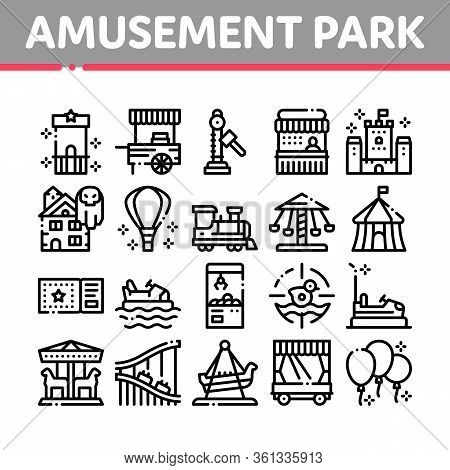 Amusement Park And Attraction Icons Set Vector. Castle And Train, Electrical Car And Boat, Ticket An