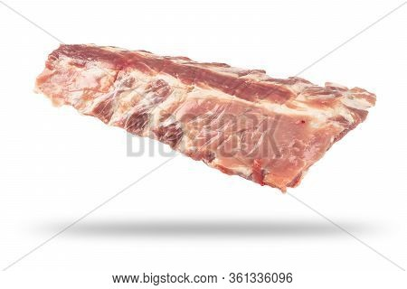 Raw Pork Meat Ribs Isolated On White Background. Fresh Pork Meat Ribs For Barbeque. Strip Of Pork Me
