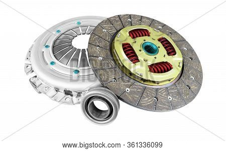 Car Repair Kit Clutch Manual Gearbox Isolated On A White Background. Car And Truck Clutch Disk. Spor
