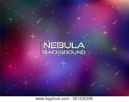 Vector Illustration Of Nebula Galaxy Gradient Background With Space Colors. Magic Cosmos Background