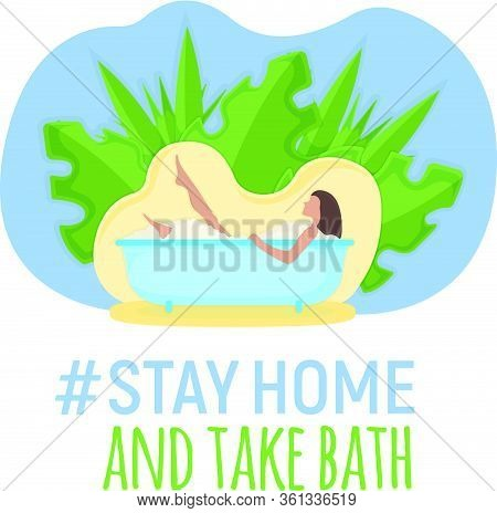 Character Female Lie Bathroom With Leaf Background, Washroom Foam, Relaxing Bath Isolated On White,