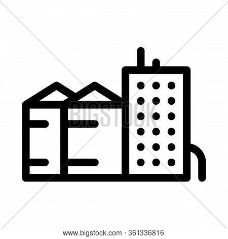 Heaters With Residential Buildings Icon Vector. Heaters With Residential Buildings Sign. Isolated Co