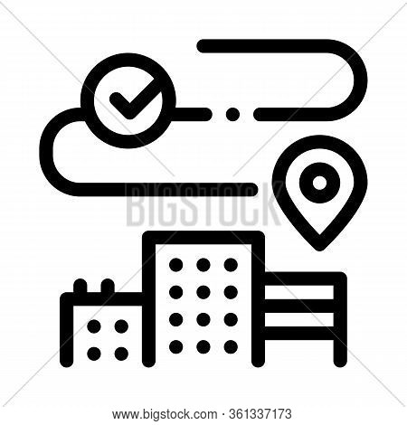 Geolocation In Residential Buildings Icon Vector. Geolocation In Residential Buildings Sign. Isolate