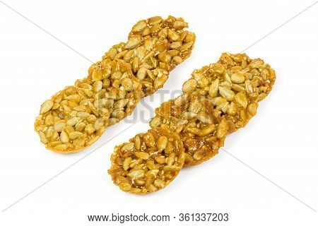 Florentine Biscuits In A Rows Isolated On White Background With Clipping Path