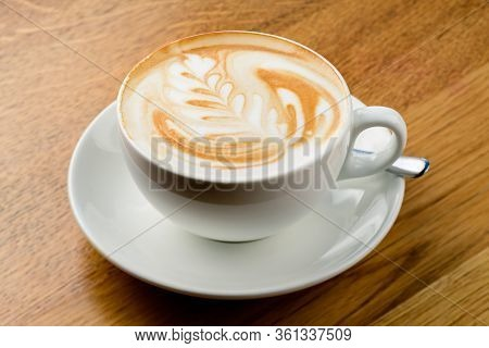 Beautiful Foam Cappuccino. Cup Of Cappuccino Coffee
