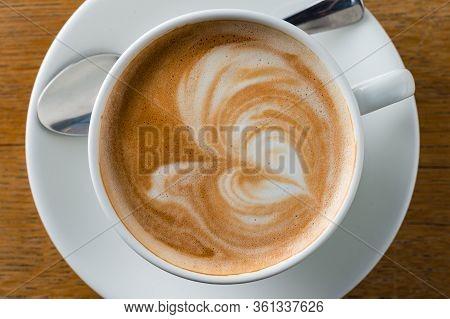 Beautiful Foam Cappuccino. Cup Of Cappuccino Coffee Top View, Flat Lay