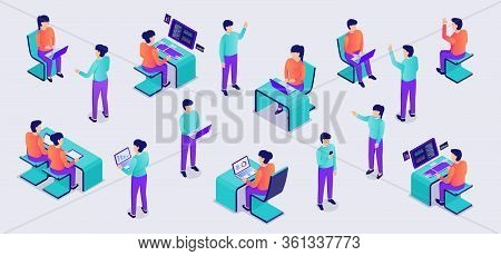 People Set Collection From Office Working With Laptop On Desk With Modern Isometric Flat Style Vecto