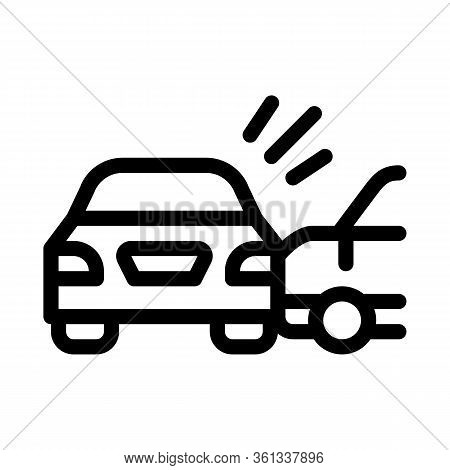 Collision Of Two Cars Icon Vector. Collision Of Two Cars Sign. Isolated Contour Symbol Illustration