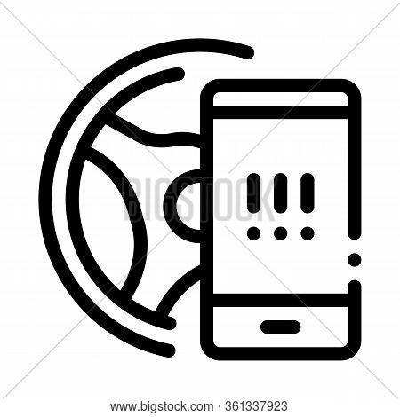 Distracting Phone While Driving Icon Vector. Distracting Phone While Driving Sign. Isolated Contour