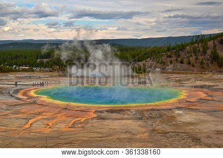 Magnificicent Grand Prismatic Spring In Yellowstone National Park, Wyoming, Usa