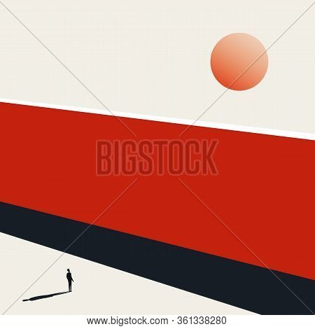 Business Hope And Positive Outlook Vector Concept. Challenge, Obstacle And Opportunity Symbol.