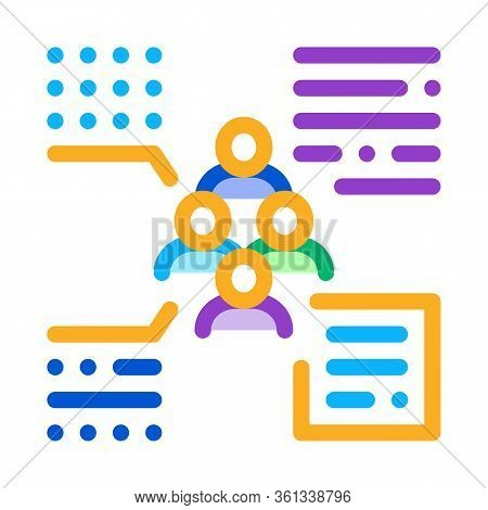 Functions Of Person From Group Icon Vector. Functions Of Person From Group Sign. Color Symbol Illust