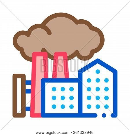 Harmful Substances Stations Above Houses Icon Vector. Harmful Substances Stations Above Houses Sign.