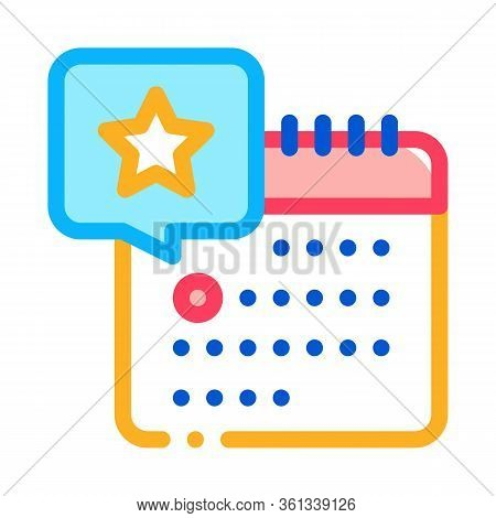 Starry Day On Calendar Icon Vector. Starry Day On Calendar Sign. Color Symbol Illustration
