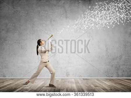 Woman Playing Trumpet Brass Instrument. Various Letters Flying Out From Trumpet. Young Businesswoman