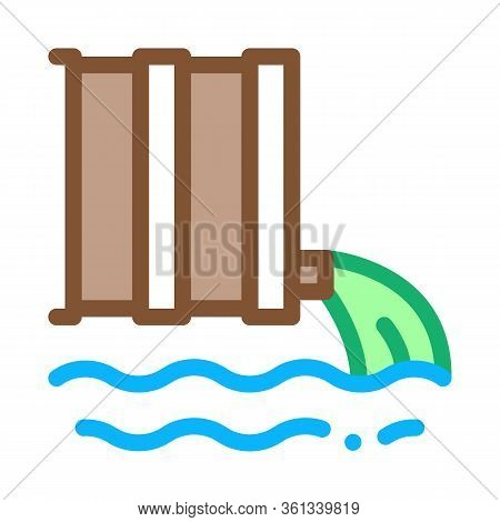 Spill Of Harmful Substances Into Water Icon Vector. Spill Of Harmful Substances Into Water Sign. Col