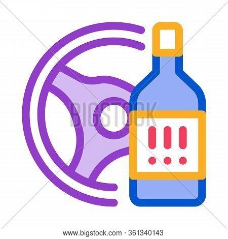 Drunk Driving Icon Vector. Drunk Driving Sign. Color Symbol Illustration