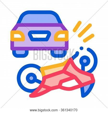 Motorcycle Hit By Car Icon Vector. Motorcycle Hit By Car Sign. Color Symbol Illustration