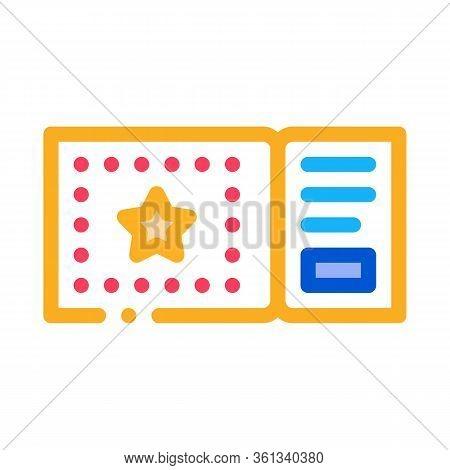 Amusement Park Ticket Icon Vector. Amusement Park Ticket Sign. Color Symbol Illustration