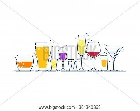 Collection Glassware Alcoholic Drinks. Alcohol Glass Stand In Row. Illustration Isolated. Flat Desig