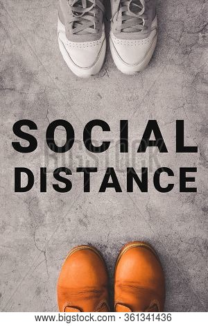 Social Distance Concept. Vertical Photo Of Two Person Stay Away Each Other Keeping Distance, To Prot