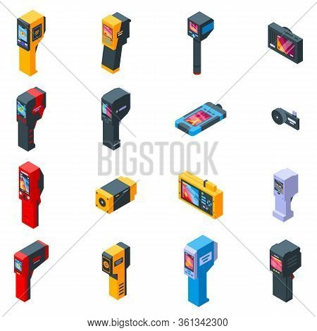 Thermal Imager Icons Set. Isometric Set Of Thermal Imager Vector Icons For Web Design Isolated On Wh