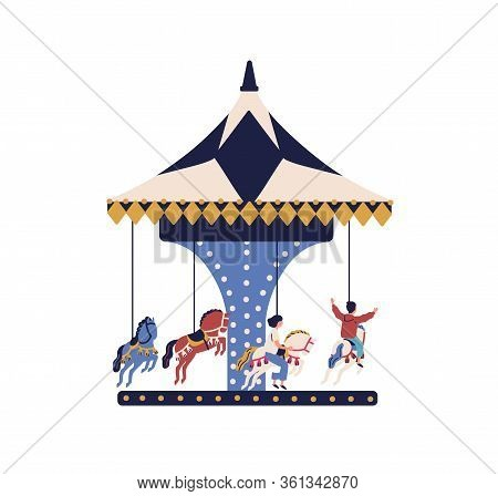 Happy Cartoon Children Ride On Carousel Horse Isolated On White Background. Joyful Kids Spend Time A