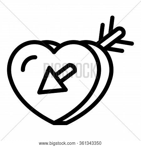 Love Heart France Icon. Outline Love Heart France Vector Icon For Web Design Isolated On White Backg