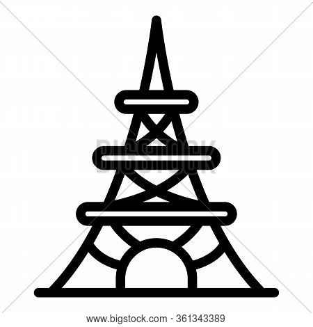 Paris Eiffel Tower Icon. Outline Paris Eiffel Tower Vector Icon For Web Design Isolated On White Bac